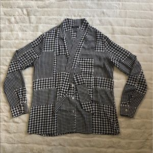 Ann Taylor Factory Button Down Tie Neck Blouse